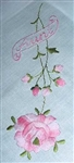 AUNT Beautiful Hankie Hanky Embroidered Pink ROSES