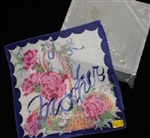 Fabulous Vintage Hidden MOTHER Hankie Handkerchief Roses Navy Trim