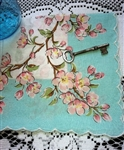 Beautiful & Dainty Pink Apple Blossoms Pale Blue Hankie Handkerchief