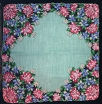Aquamarine Center Black Border Lavish Flowers Vintage Handkerchief