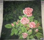 Black Vintage Swiss Handkerchief PINK ROSES Beauty with Label