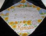 KANSAS State Map Souvenir Vintage Handkerchief Hankie SUNFLOWERS