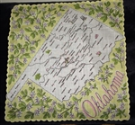 Oklahoma State Map Vintage Handkerchief Franshaw Hankie Yellow & Pink