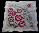 Florida State Map Souvenir Handkerchief Big Hibiscus AQUA Blue Map