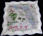 Florida State Map Handkerchief Blue Colors Mint with Tag Beauty!