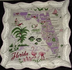 Florida State Map Vintage Handkerchief Lavender and Pink MINT