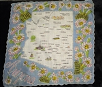 Arizona State Map Souvenir Vintage Handkerchief Blue Border