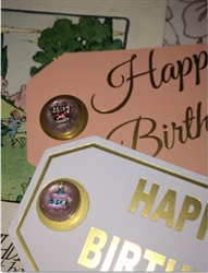 Darling Pair Happy Birthday Gift Tags Vintage Buttons Added Rhinestone Crown & Cake