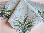 Lt Blue Handkerchief Gorgeous Lily of the Valley Sprays Scalloped