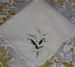 Darling Embroidered Lily of the Valley White Bow Hankie