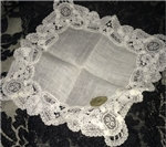 Brussels Lace Vintage Wedding Handkerchief Original Belgian Tag Beauty