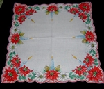 Christmas handkerchief Aqua Blue Candles Red Poinsettia Pinecones