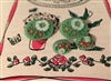 4 Diminutive Heidi Buttons Jadite Green Oval Swiss Look Flowers 2 Small 2 Tiny