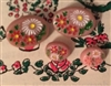 4 Diminutive Heidi Button Rose Pink  Oval Swiss Look Flowers 2 Small 2 Tiny