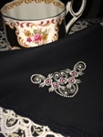 Black Mourning Hankie Pink Rosebuds Heart Design Scalloped