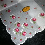 MOST Stunning Embroidered Swiss Handkerchief Red Pink Shaded Roses Lily Valley