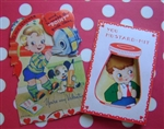 2 Darling Boys Vintage Valentine Cards Mustard-Mit & Teacher CUTE