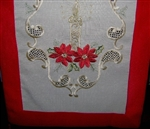 Elegant Deep Red Ivory Gold Embroidered Christmas Table Runner