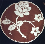 Vintage Round Handkerchief Hankie Brown Large Single White Rose