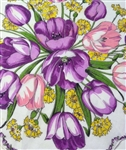 Purple and Pink Tulips Yellow Carnations Vintage Round Handkerchief Hanky
