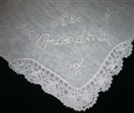All White Embroidered Handkerchief for Grandma - Grandma Hankie