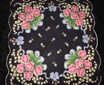Black Vintage Ladies Handkerchief Lily of the Valley Pink Roses Blue Bows