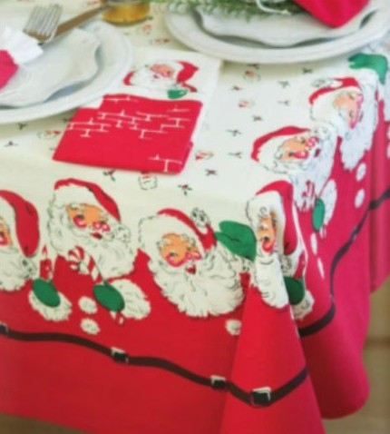 SANTA Christmas 50s Vintage Style Tablecloth FUN