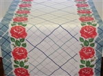 Farmhouse Tablecloth Fabric Table Runner Cottage Blue & Roses 48""