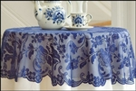 "Cobalt Blue Lace 42"" Round Lace Table Topper STUNNING"