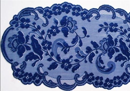 Blue Table Runner Dresser Scarf Stunning Lace 48