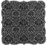 "Dramatic Black Damask Design Lace Tablecloth Table Topper 42"" SQ Beauty"