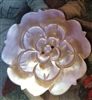A Vintage Carved Mother of Pearl MOP ROSE Button Stunning  1.5 In