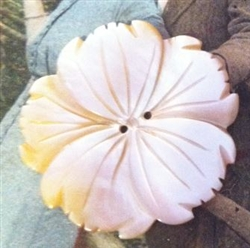 A Vintage Carved Mother of Pearl MOP COSMO or Tropical Flower Button Stunning  1.25""