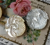 An Amazing Vintage Carved Mother of Pearl Button 1.5in Round Foliage & Squares