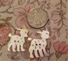 2 Vintage Carved Mother of Pearl MOP Buttons PRECIOUS Deer
