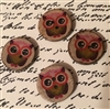 Whoo Whoo Set 4 Coconut Shell Hand Printed OWL Buttons Cute Halloween