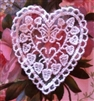2 Venice Lace Detailed Lace Heart Appliques Beautiful WHITE