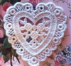 "3"" Ivory Heart Venice Lace Applique Trio of Rosebuds Many Uses Set 2"