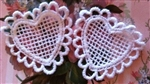 "2 Small Lace Applique HEART White So Sweet 2"" Free Ship"