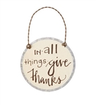 In All Things Give Thanks  Metal Thanksgiving Ornament Fall Decor