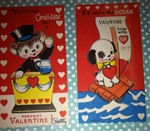 2 1950's School Valentine' Cards Teddy Bear Darling Puppy Will hold Hankie