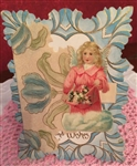 Vintage Valentine Embossed Angel Scrap Best Wishes Blues & Pink