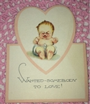 TOO cute Vintage Valentine Card Crying Baby Die Cut Made in USA