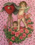 Cherub Angel Photographer Heart Camera Roses Vintage Cardboard Scrap Embossed