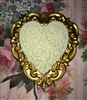 Vintage Brass Heart Finding with Faux Ivory Carved Heart Ornament Valentine