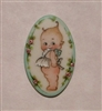 Handmade Hand Painted in USA Porcelain Button Cameo Style Kewpie Doll
