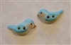 Handmade Hand Painted in USA Porcelain Buttons 2 Tiny Bluebirds
