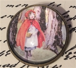 Crystal Dome Button Vintage Child's Book Graphic Little Red Riding Hood