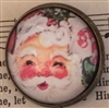 Crystal Dome Button Bronze Retro SANTA Claus Christmas Ho Ho Ho