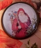 Crystal Dome Button Bronze Victorian Santa Christmas Ho Ho Ho